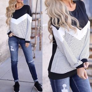 Tops - Black & White Striped Long Sleeve Top